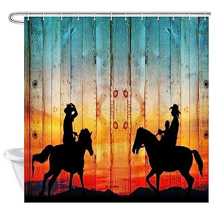 Western Cowboy And Horse ShowerCurtainSet WaterproofFabric/&12 Hooks71 Inch