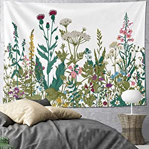HOMKUMY Wildflower Wall Tapestry, Bohemian Hippie Tapestry Flower Psychedelic Indian Wall Hanging Tapestry for Home Decor Bedroom Living Room, Large 79x58 Inches