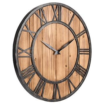 Grandes relojes de pared de hierro, Vintage colgante reloj metal romano numeral ornamento madera reloj