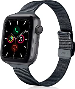 TRA Metal Slim Band Compatible for Apple Watch Band 38mm 40mm 42mm 44mm, Stainless Steel Mesh Adjustable Replacement Thin Strap Wristband for iWatch Series 5/4/3/2/1 (Space Gray, 38mm/40mm)