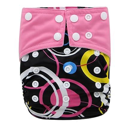 Happy Cherry Pañales Anti Escape Tela Reutilizable Cloth Diaper de Secado Rápido y Lavable para Bebé
