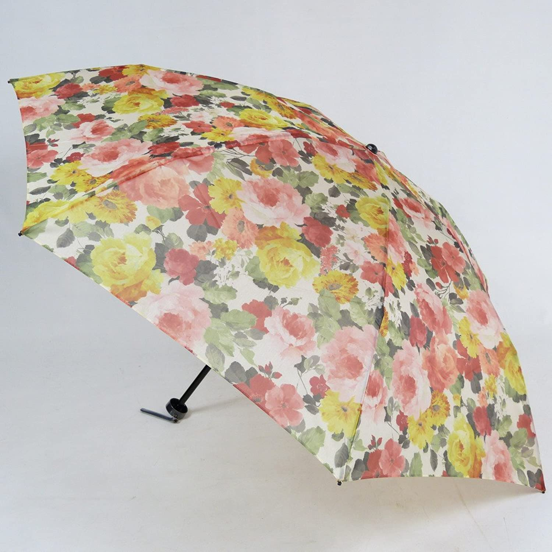 レディース雨傘 折傘 ミニ 3段式 オーガンジーアンブレラ 「スモリー」 花柄 軽量 おしゃれ 雨晴兼用雨傘 uvカット加工 折りたたみ傘 日本製 エイト 25135 B01BB3P5A4イエロー(A)