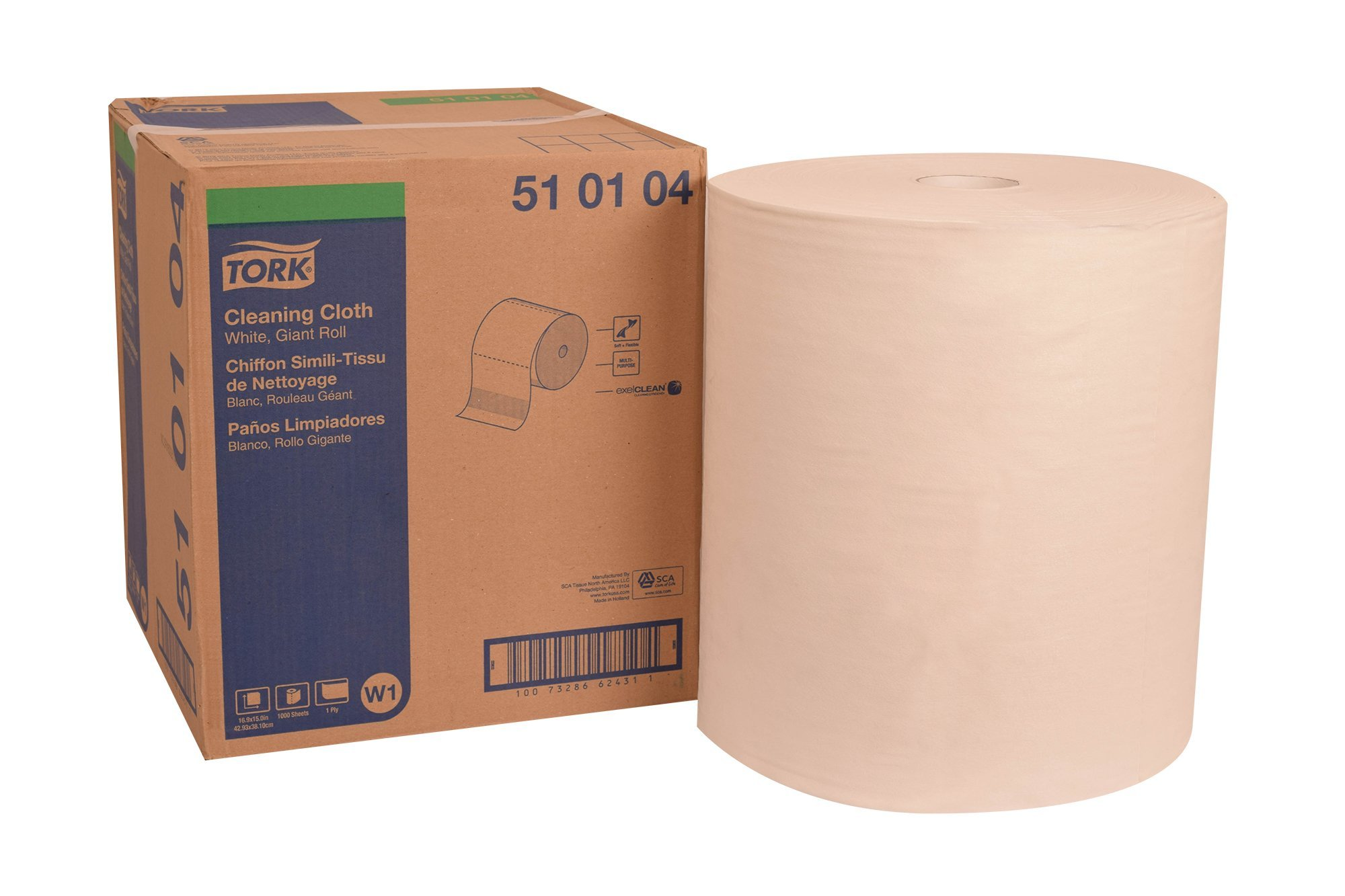 Tork 510104 Cleaning Cloth, Giant Roll, 1-Ply, 16.9'' Width x 1250' Length, 14.96'' Roll Diameter, White (Case of 1 Roll) by Tork