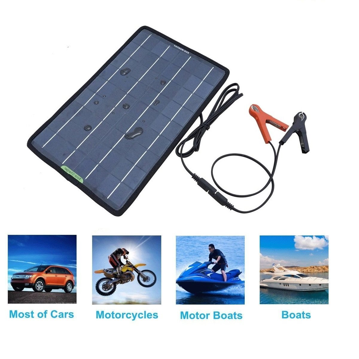 Eco Worthy 12 Volts 10 Watts Portable Power Solar Panel Battery Volt Car Diagram With Cutaway And Labeled Components Charger Backup For Boat Alligator Clip Adapter Business