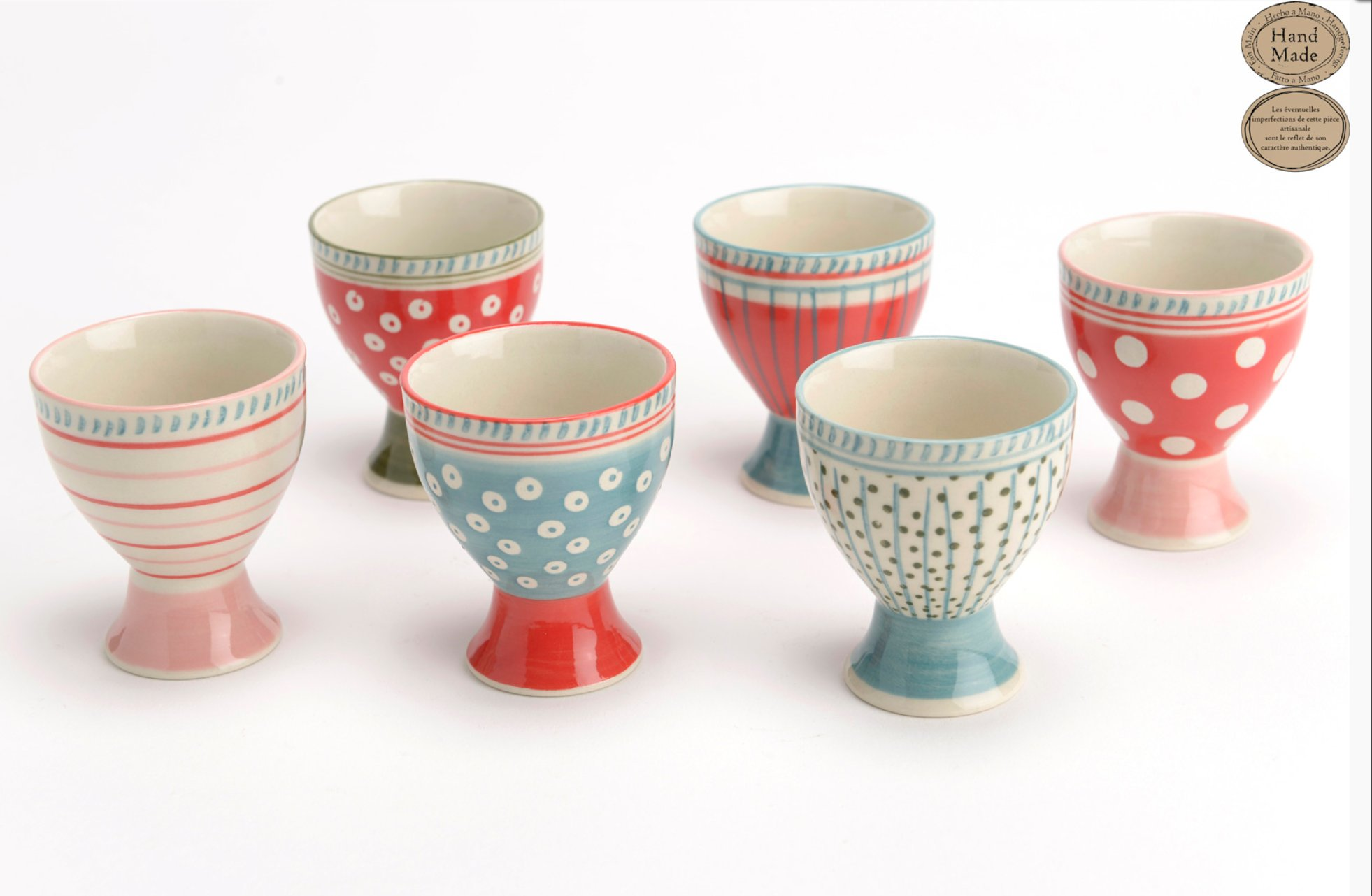 131509 Hand Painted Ceramic Egg Cup Holders, Set/6 Assorted Styles