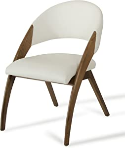 Limari Home Ohanna Collection Mid-Century Modern Two-Toned Upholstered Leatherette and Wooden Dining Chair, Cream/Walnut