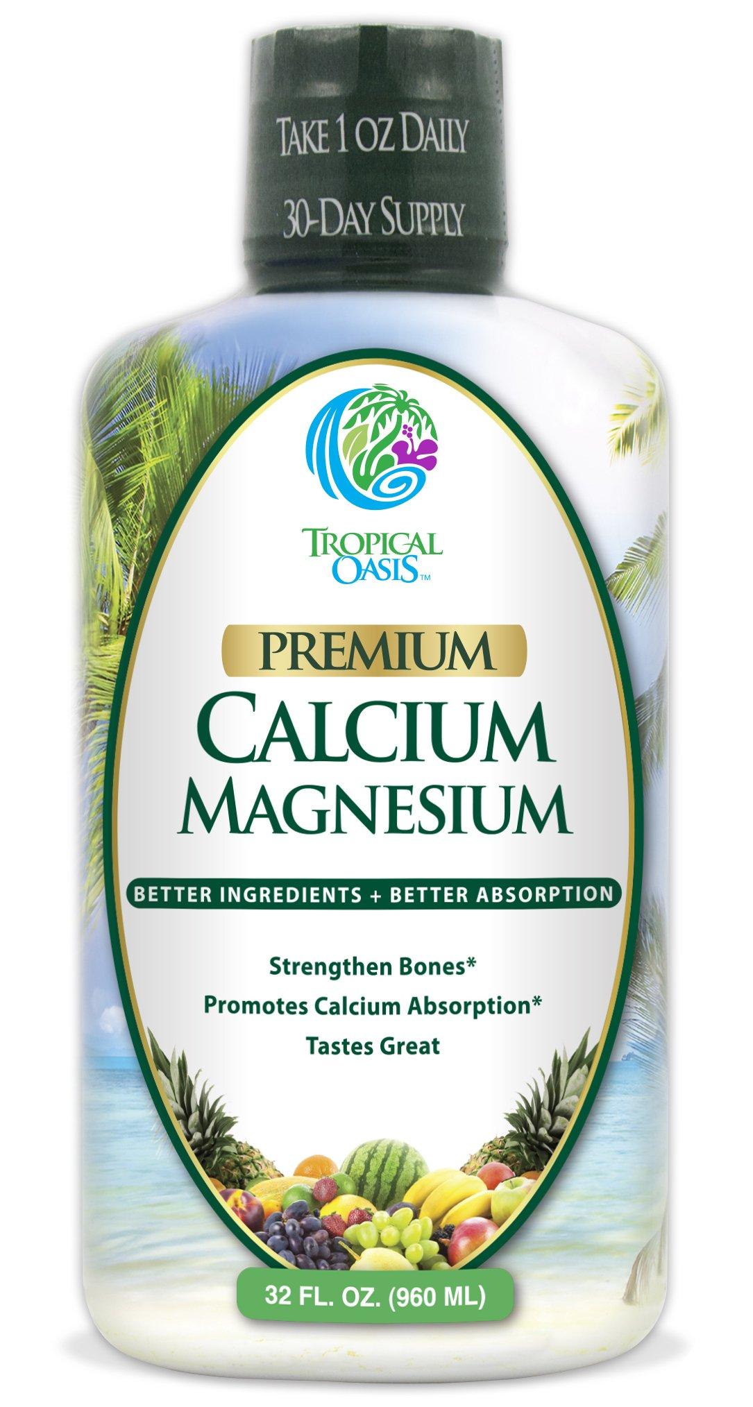 Tropical Oasis Liquid Calcium & Magnesium - Natural formula w/ support for strong bones - Liquid vitamins w/ calcium, magnesium & vitamin D - Up to 96% absorption by the body. - 32oz, 64 Serv.