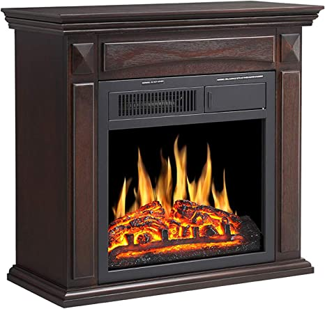 R W Flame 25 Electric Fireplace Mantel Wooden Surround Firebox Freestanding Corner Fireplace Home Space Heather Adjustable Led Flame Remote Control 750w 1500w Brown Home Kitchen