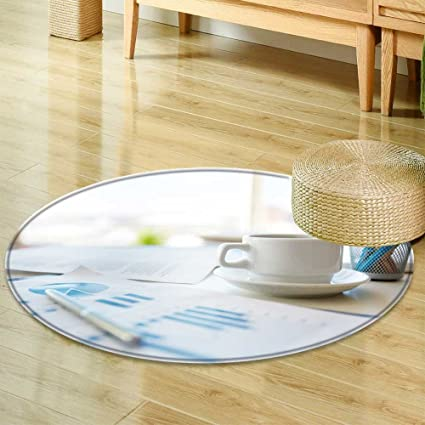Amazoncom Round Area Rug Close Up Image Of An Office Desk At