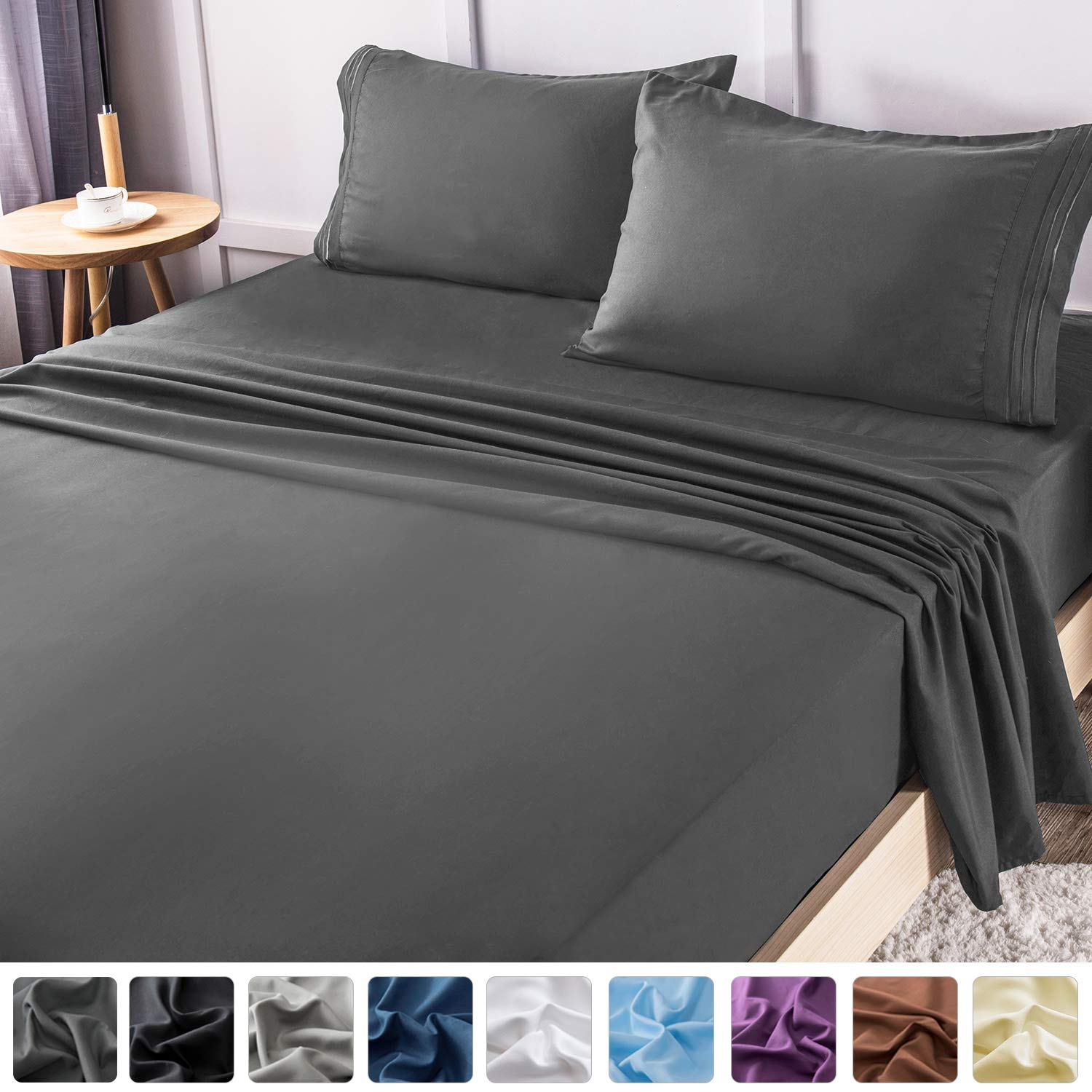 LIANLAM Queen Bed Sheets Set - Super Soft Brushed Microfiber 1800 Thread Count - Breathable Luxury Egyptian Sheets 16-Inch Deep Pocket - Wrinkle and Hypoallergenic-4 Piece(Queen, Dark Grey) by LIANLAM