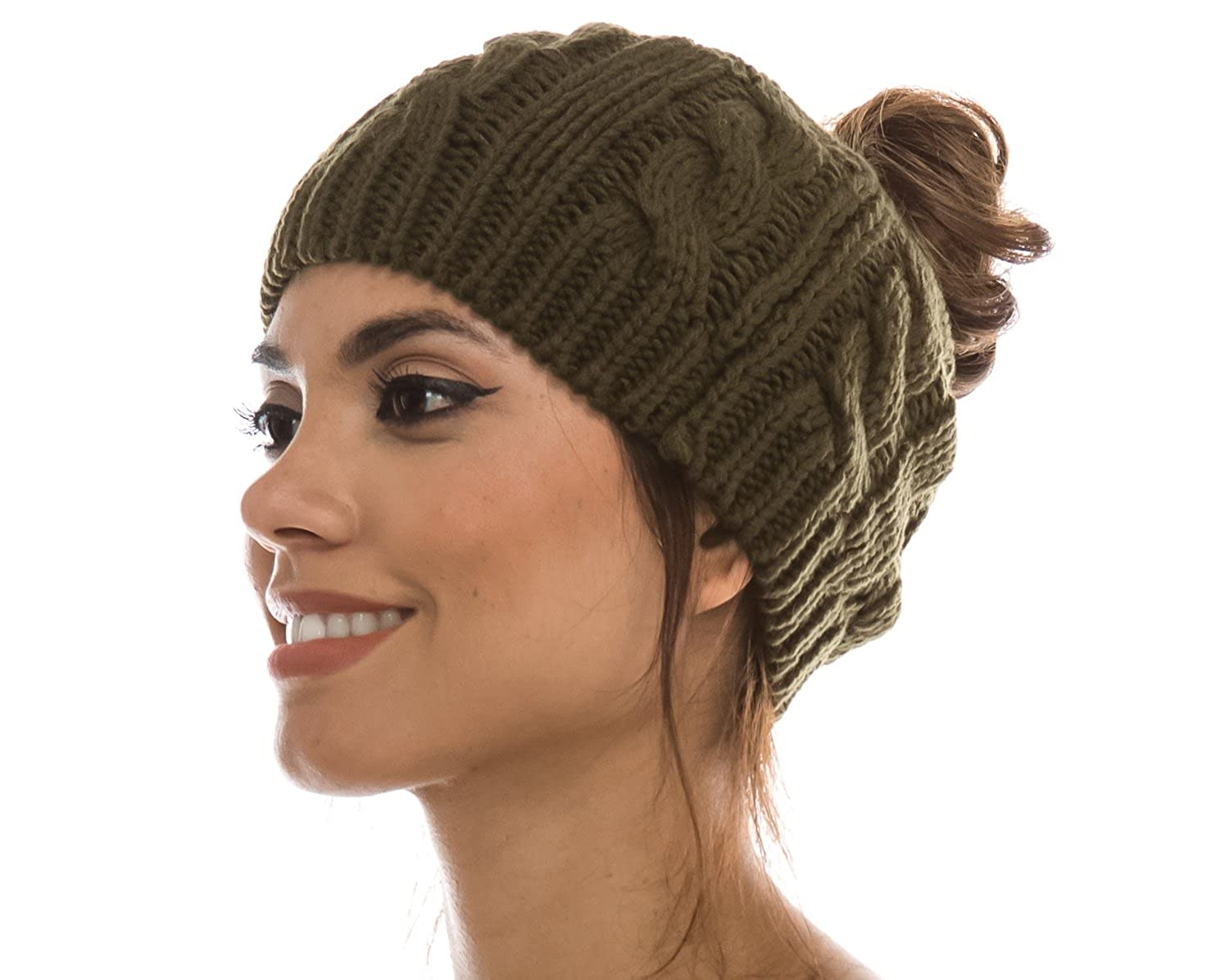 eceb9d4f83b3dd Women Crochet Ponytail Messy High Bun Beanie Winter Hat, Slouchy Cable Knit  Twist (Beige) at Amazon Women's Clothing store: