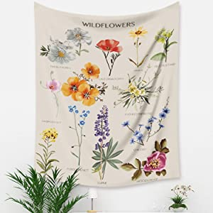 Laobee Wildflowers Tapestry Small Vertical Tapestry Cute Vintage Garden Tapestries Wall Hanging for Cottagecore Room Decor(0125-Flower-51