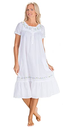 ead7f0bafdc La Cera Nightgowns - 100% Cotton Short Sleeve Gown in Sunny Flowers (White,