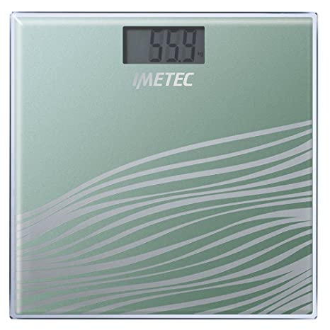 IMETEC BS4 500 - Báscula de baño, cuadrada, vidrio templado, color verde