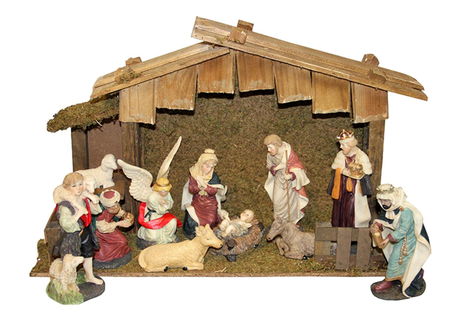 LB International 12-Piece Hand Painted Religious Christmas Nativity Figurine and Stable Set