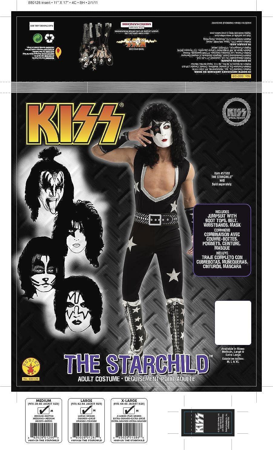 amazon com kiss deluxe the starchild costume black x large