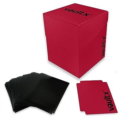 Vault X® Caja Grande de Cartas con 150 Fundas Negras - Tamaño Grande para 100+ Cartas en Fundas - Porta Tarjetas Libre de PVC para TCG (Rojo)