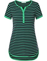 Messic Women's V-Neck 3/4 Roll Up Sleeve/Short Sleeve High Low Hem Casual Striped Tunic Shirts