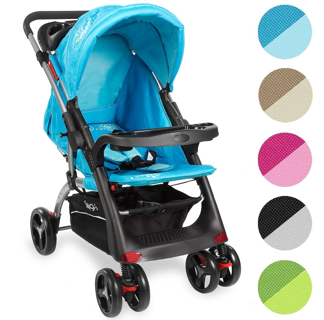 Kinderwagen RANGER S4-2 Gepolsterter 5-Punkt Sicherheitsgurt Blau Froggy