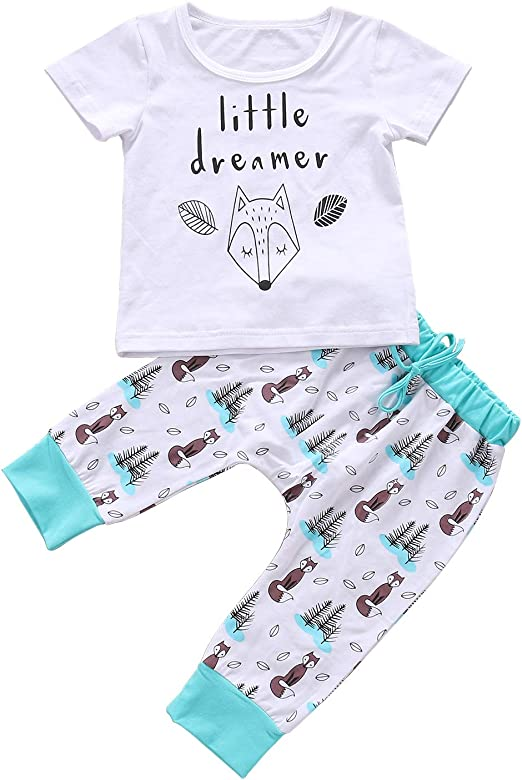 1-5 Years,SO-buts Kids Newborn Infant Baby Girls Cartoon Letter Cow Animal Print Tops T-Shirt Shorts Outfits Summer Casual Sleepwear Pajamas Set
