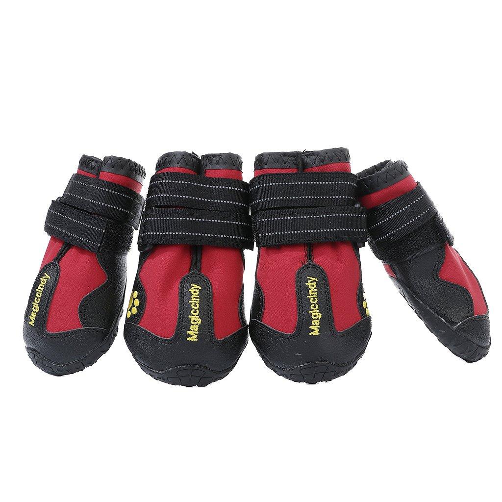 Zapatos para Perros HomeDecTime 4pcs Botas para Perros Negro S