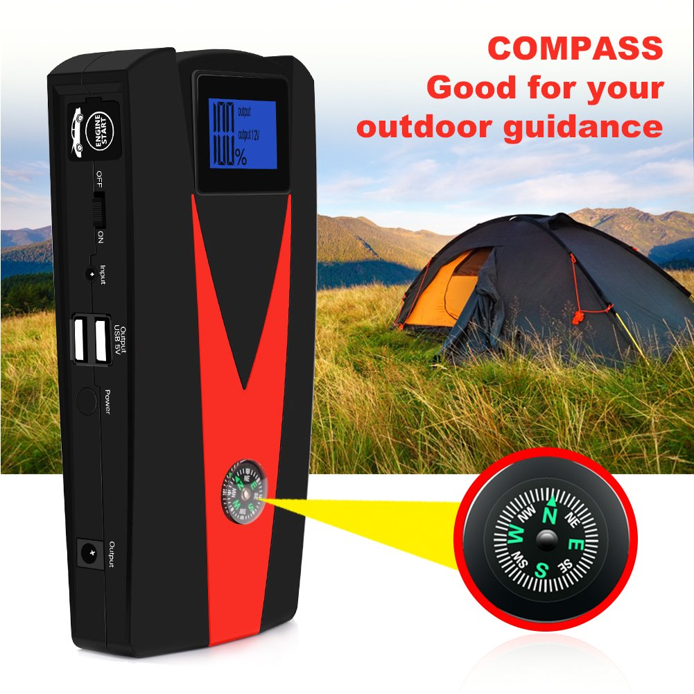 Car Jump Starter, 12V 800A Peak(Up to 5.0L Gas or 4.0L Diesel Engine) Portable Auto Battery Booster,Dual USB Power Bank Phone Battery Pack Built-in LED Light & Compass by PUSHIDUN (Image #4)