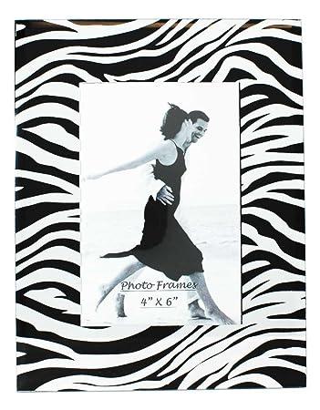 Amazon.com - Glass Picture Frame Zebra Black With Mirror 4x6 -