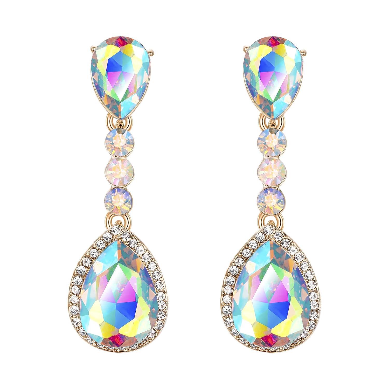 32e97d238 BriLove Women's Wedding Bridal Crystal Teardrop Infinity Figure 8  Chandelier Dangle Clip-On Earrings 12001255-5