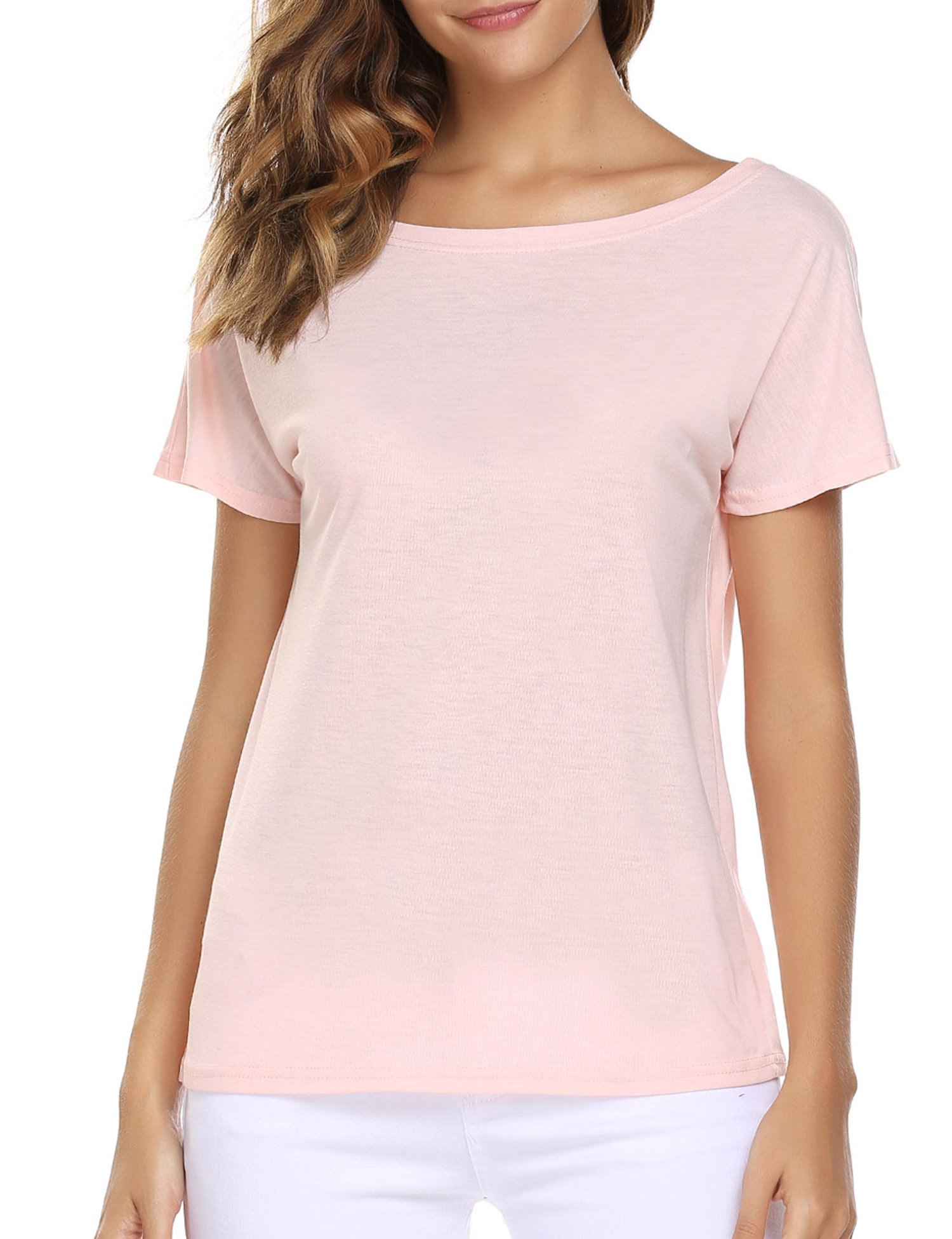 Easther Women's Short Sleeve T-Shirt Criss Cross Casual Round Neck Girls Top Tee Shirts(Pink,Large)
