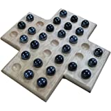Sean Wood Cross Solitaire Board Game with Black Marble Pieces