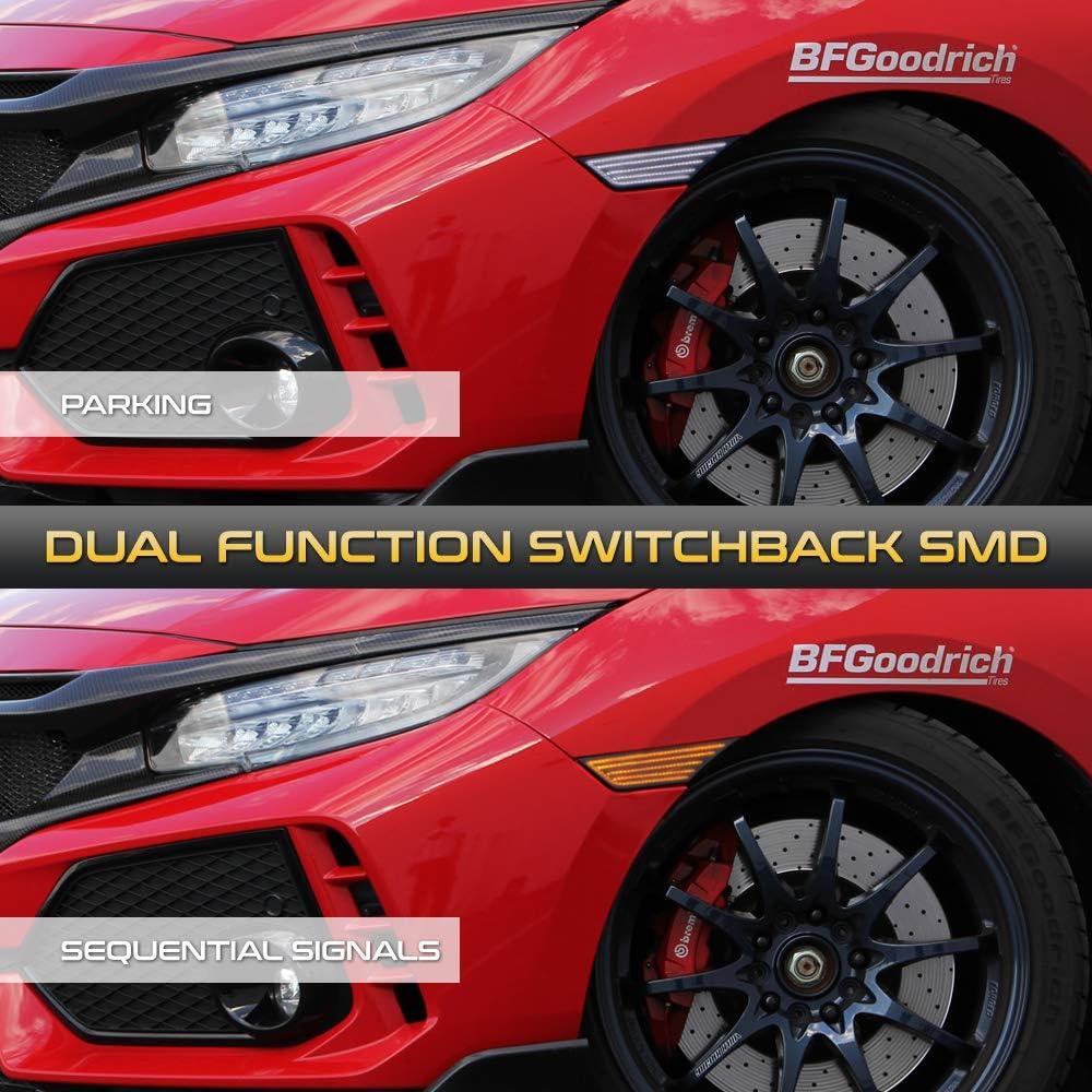 Switchback + Sequential Turn Signal VIPMOTOZ Full White /& Amber LED Smoke Lens Front Side Marker Turn Signal Light For 2016-2020 Honda Civic Driver /& Passenger Side