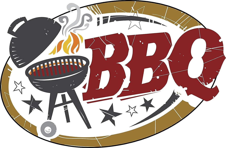 Amazon com ew designs cool simple bbq barbecue grill cartoon icon vinyl decal bumper sticker 8 wide automotive