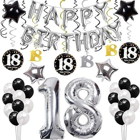 sancuanyi 18th Happy Birthday Cumpleaños Globo Plata 18 ...