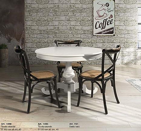 Table&Chairs tavolo da pranzo shabby chic laccato bianco rotondo con ...