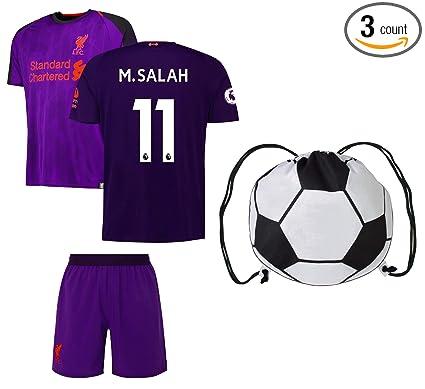 28f40a682 Rhinox Liverpool Salah #11 Youth Soccer Jersey Away Short Sleeve Kit Shorts  Kids Gift Set