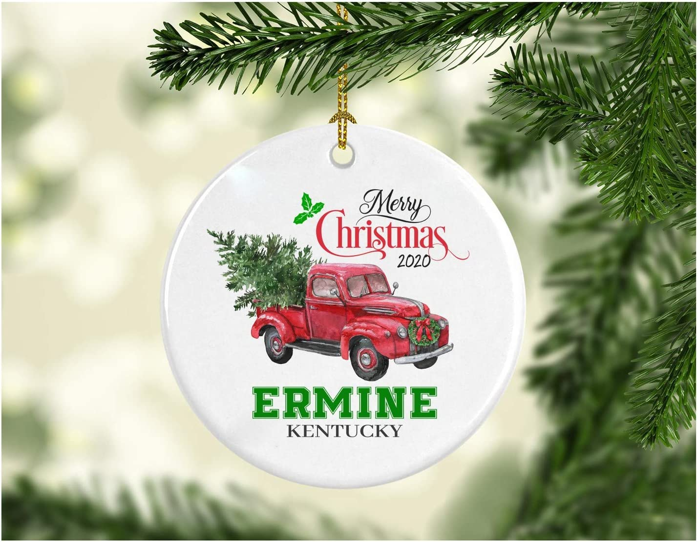 """Christmas Decoration Tree Merry Christmas Ornament 2020 Ermine Kentucky Funny Gift Xmas Holiday as a Family Pretty Rustic First Christmas in Our New Home MDF Plastic 3"""" White"""