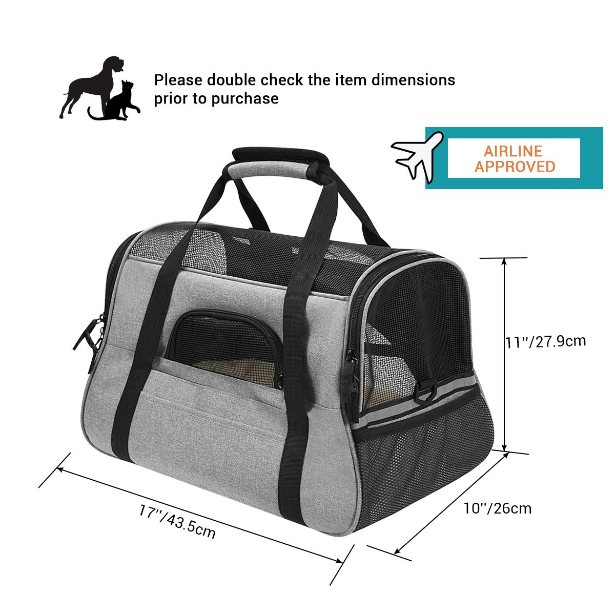 Airline Approved Pet Carrier Soft Side Portable Pet Travel Bag Mesh Windows Fleece Padding Under Seat Pet Bags Small Dogs Cats (Grey)