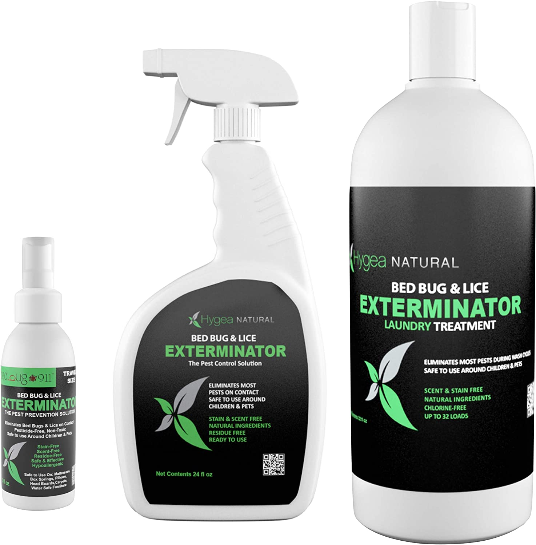 Hygea Natural Exterminator Combo Pack, Non Toxic Treatment, Natural Bugs & Lice Eradicator, Includes Spray 24 oz, Travel Spray 3 oz & Laundry Treatment 32 oz