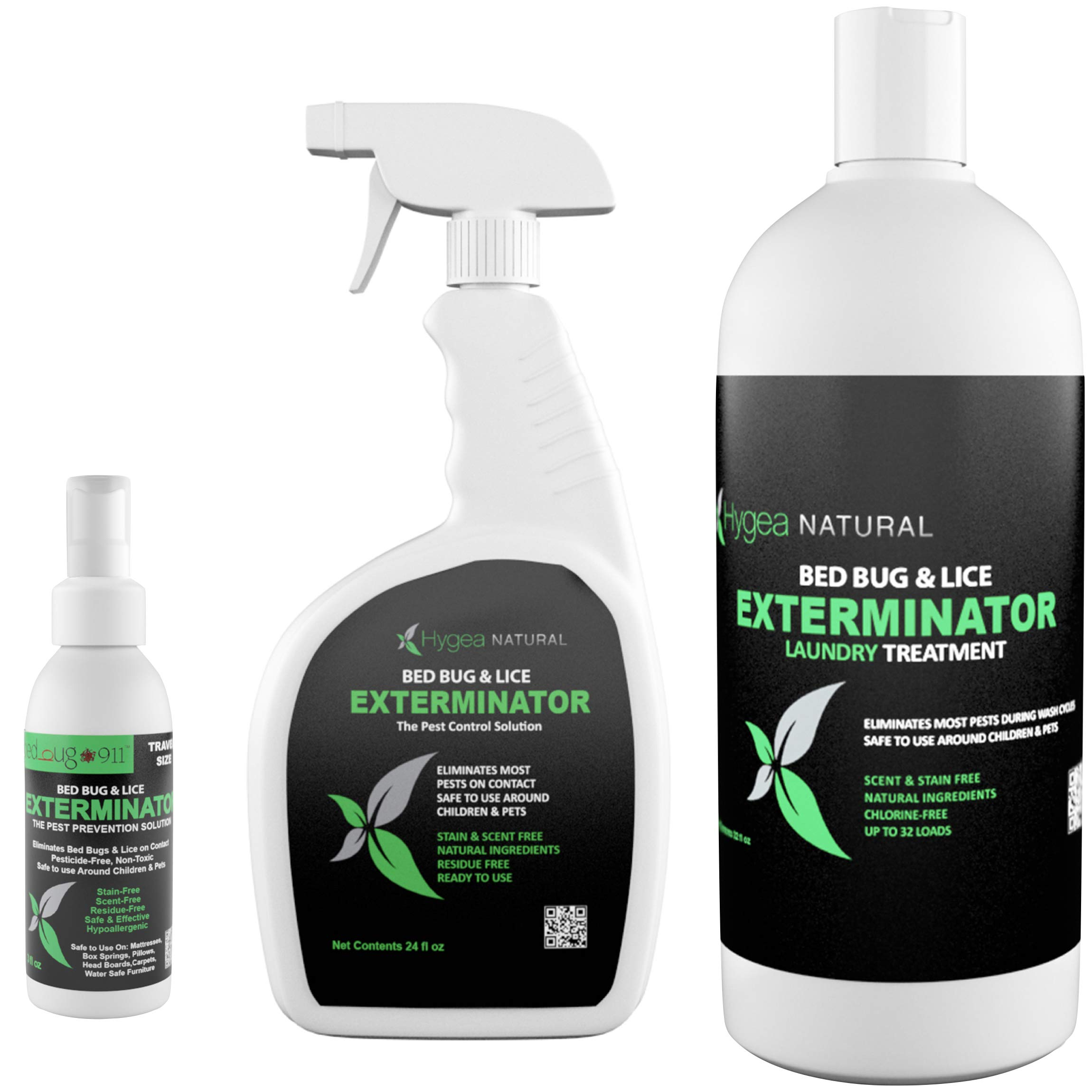 Hygea Natural Exterminator Combo Pack, Non Toxic Treatment, Natural Bugs & Lice Eradicator, Includes Spray 24 oz, Travel Spray 3 oz & Laundry Treatment 32 oz by Hygea Natural