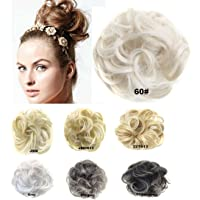 Bridal Hair Bun Updo Scrunchie Hairpiece Wig Hair Ribbon Ponytail Extensions Clips Straight Drawstring Hair Chignons Topknot Knot #60