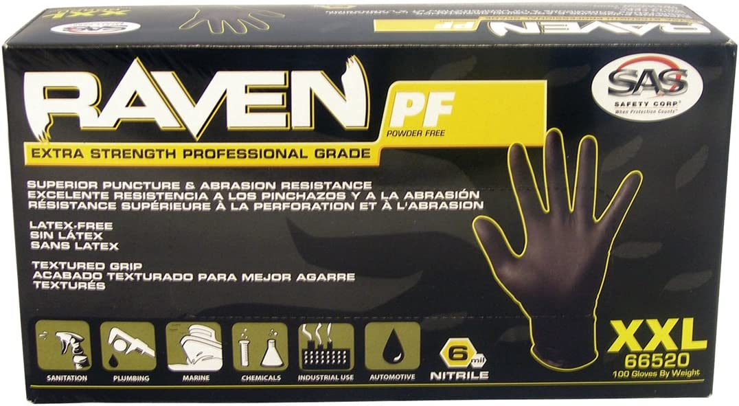 CS SAS Safety 66518 Raven 6 mil Black Nitrile Disposable Gloves 100 Gloves per Box SAS Safety Corporation 66518 10 Pack Large