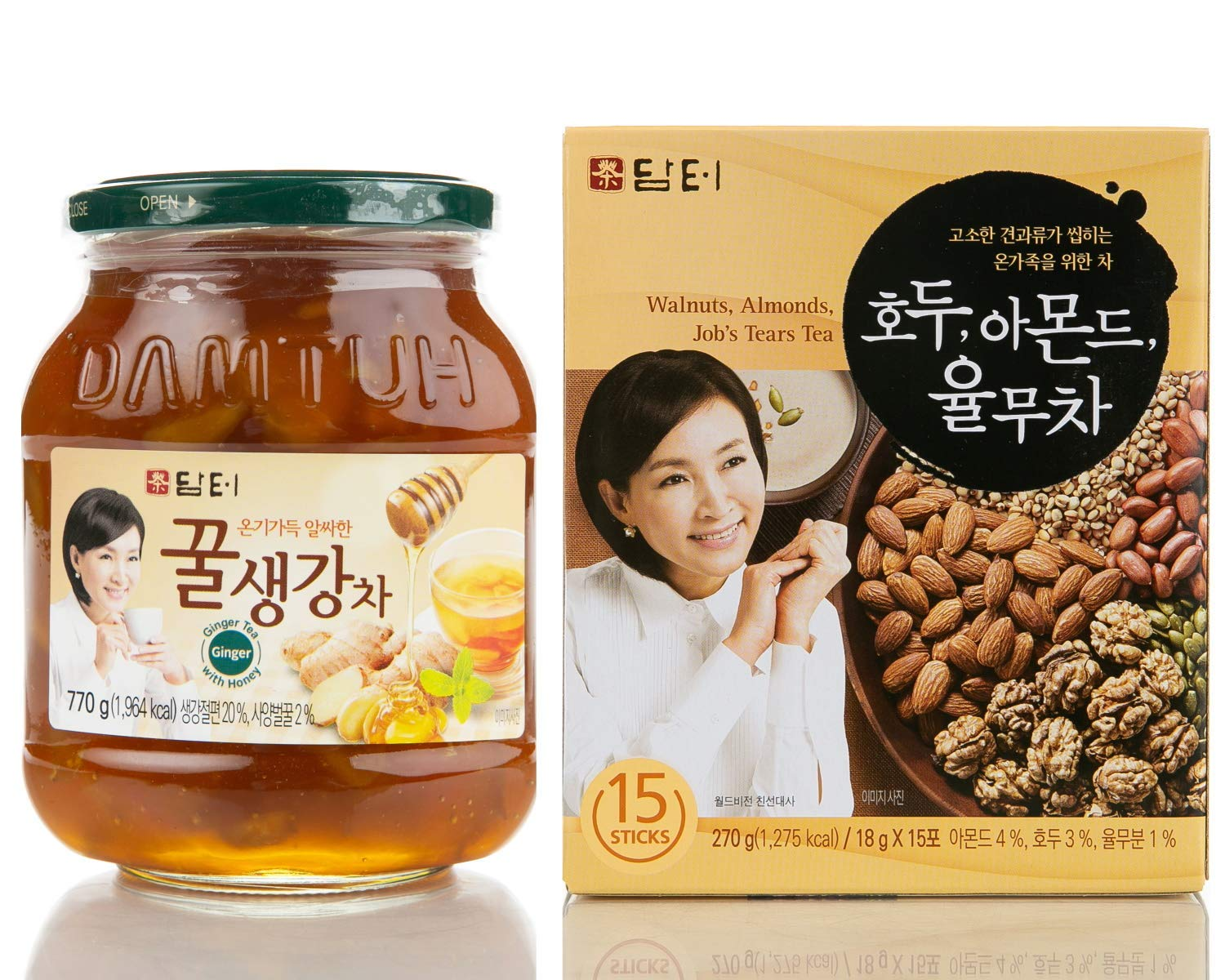 Damtuh Korean Honey Tea, Ginger with Honey 27.16 oz + Walnut Almond Adlay Tea (Job's Tear) 15 Sticks