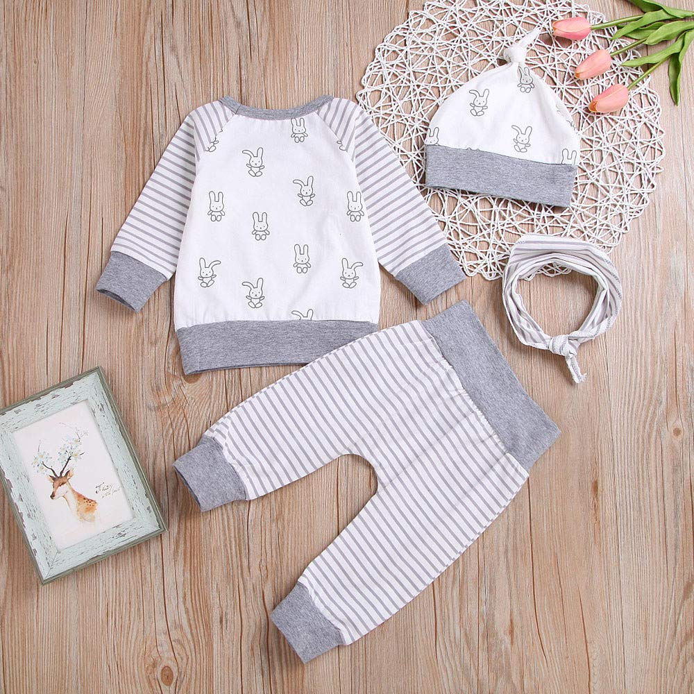 Newborn Infant Baby Girl Boy 0-24 Months Cartoon T Shirt Tops+Striped Pants Clothes Outfit Set
