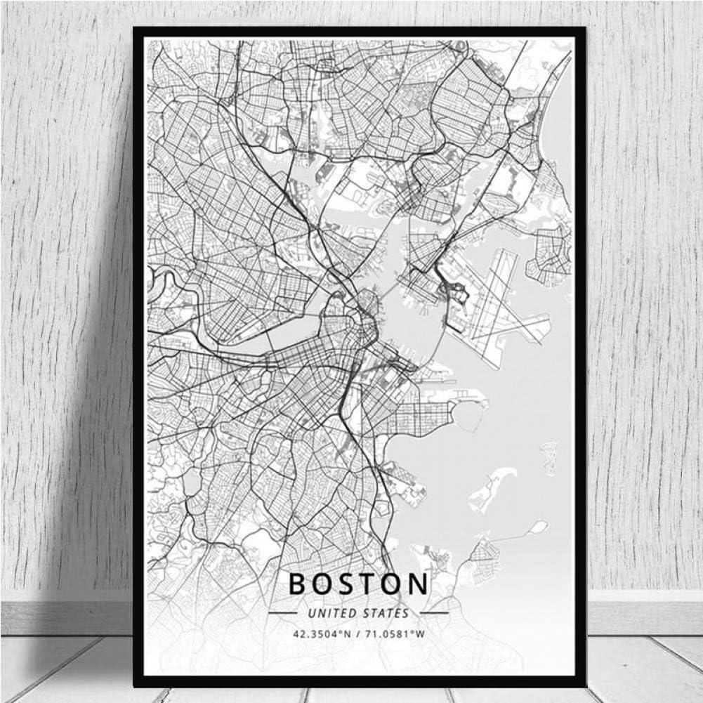 JWJQTLD Leinwanddruck Wandkunst Karte Der Welt Moderne Stadt Boston Karten Reiseplakat Bild Poster Und Drucke Leinwand Malerei Raum Home Decoration