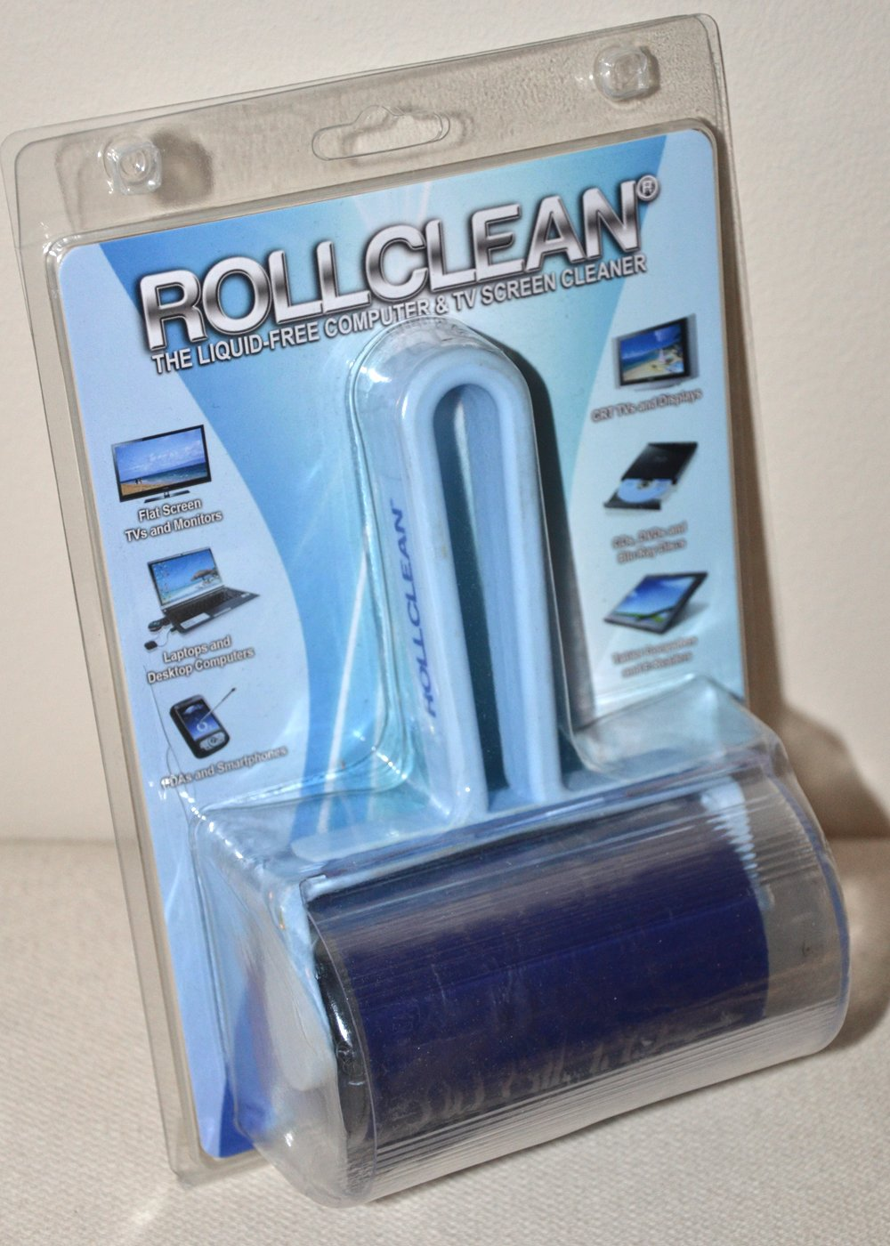 ROLLCLEAN: The liquid free, reusable TV Screen and Desk Top Monitor cleaner and all purpose flat surface cleaner.