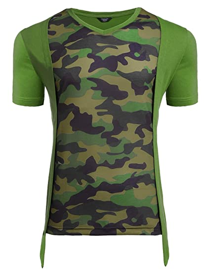 0e41daae4 Image Unavailable. Image not available for. Color: COOFANDY Mens Army Shirts  Fashion Camo T Shirts Short Sleeve ...