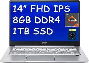 "Acer Swift 3 2020 Premium Business Laptop I 14 inch Full HD IPS I AMD 8-Core Ryzen 7 4700U(>i7-10510U) I 8GB DDR4 1TB PCIe SSD I Fingerprint Backlit USB-C Win 10 + Delca 16GB Micro SD Card"" /></a></div> <div class="