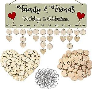 Acoavo Birthday Reminder Board Family Celebration Wall Hanging Wooden Birthday Calendar Plaque,DIY Family Birthday Tracker Gift for Mom