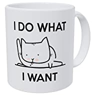 Wampumtuk Cat Licking A I Do What I Want 11 Ounces Funny Coffee Mug