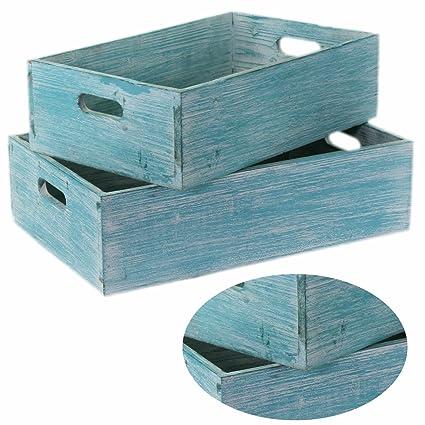 2 cajas de vino madera estante fruta de la caja decorativa caja de color turquesa